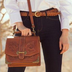 Patricia Nash Stella Burnished Leather Tooled Bag